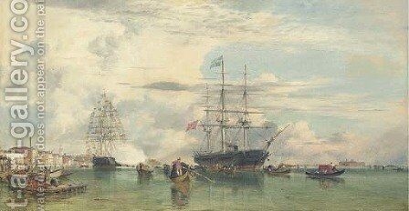 The Arrival of Otho, ex-King of Greece, at Venice, 29th October, 1862, in H.M. Corvette 'Scylla', 21 guns, Captain Rowley Lambert by Edward William Cooke - Reproduction Oil Painting