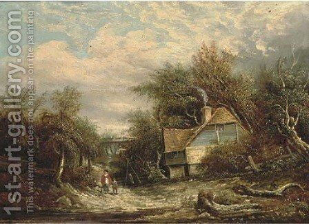 Figures by a cottage, in a woodland landscape by Edward Williams - Reproduction Oil Painting