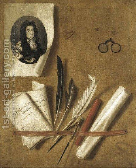 A trompe l'oeil still life of an engraving of King Charles II, newspapers, feathers, a compass, a sealing wax stick, a scroll and a pair of glasses by Edwart Collier - Reproduction Oil Painting