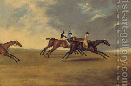 Lord Grosvenor's  Enterprise winning from Waty and Hannibal at Brighton Races, 1804 by Edwin Cooper - Reproduction Oil Painting