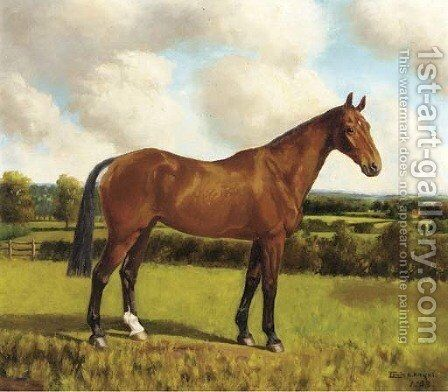 Cracker a chestnut hunter in a paddock; and Belinda a brown hunter in a paddock by Edwin H. Knight - Reproduction Oil Painting