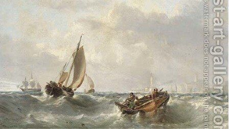 Fishermen off the harbour mouth at Margate by Edwin Hayes - Reproduction Oil Painting