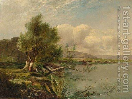 Anglers by a tranquil river by Henry John Boddington - Reproduction Oil Painting