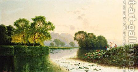 Anglers fishing in a river landscape by Henry John Boddington - Reproduction Oil Painting
