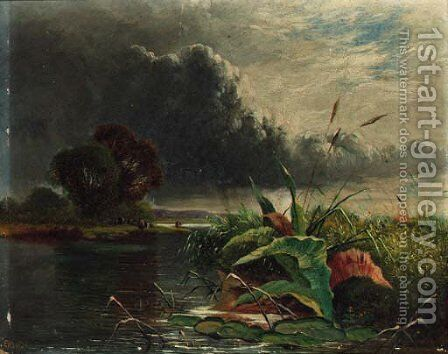 Cattle watering by a tranquil river by Henry John Boddington - Reproduction Oil Painting