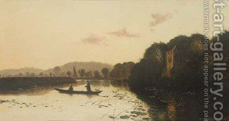 Anglers on a lake by Henry John Boddington - Reproduction Oil Painting
