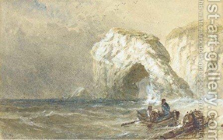 Salvaging the wreck, one off Durdle Dor by Edwin Ellis - Reproduction Oil Painting