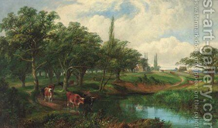Cattle watering in Epping Forest by Edwin L. Meadows - Reproduction Oil Painting