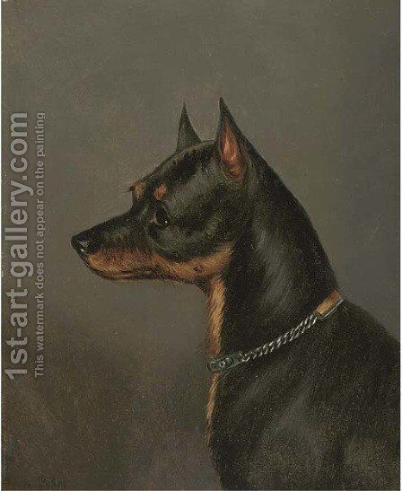 Head of a terrier by Edwin Loder - Reproduction Oil Painting