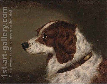 The head of a spaniel by Edwin Loder - Reproduction Oil Painting