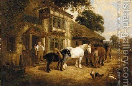 Outside the Inn by Edwin L. Meadows - Reproduction Oil Painting