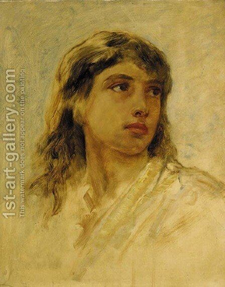 A young Arab girl by Edwin Longsden Long - Reproduction Oil Painting