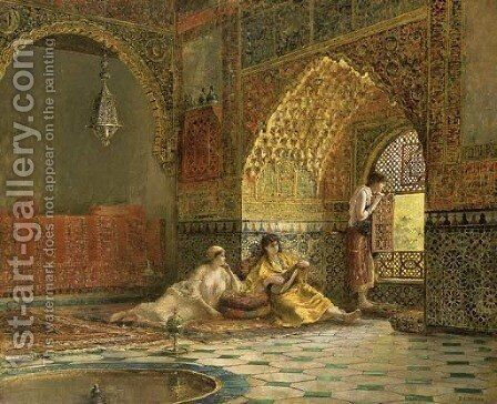 Interior of La Torre des Infantas, illustrating the legend of the three Moorish princesses, in Washington Irving's 'The Alhambra' by Edwin Lord Weeks - Reproduction Oil Painting