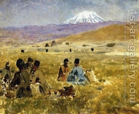 Persians lunching on the Grass, Mt. Ararat in the Distance by Edwin Lord Weeks - Reproduction Oil Painting