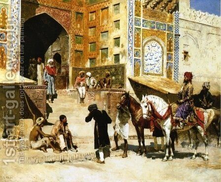 Steps of the Mosque Vazirkham, Lahore by Edwin Lord Weeks - Reproduction Oil Painting