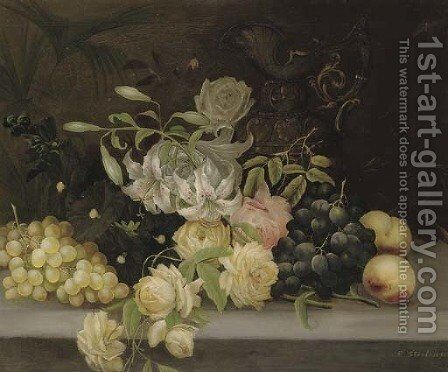 Lillies and roses, hollyhocks, grapes and peaches by Edwin Steele - Reproduction Oil Painting