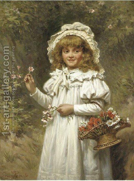 Picking flowers by Edwin Thomas Roberts - Reproduction Oil Painting