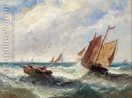 Boats in a swell; and Boats outside the harbour walls by Edwina Lara - Reproduction Oil Painting