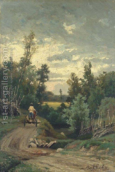 Peasant driving a telega through the countryside by Efim Efimovich Volkov - Reproduction Oil Painting