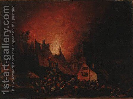A village on fire by Egbert van der Poel - Reproduction Oil Painting