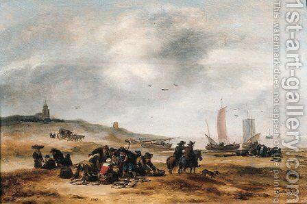 Fish displayed for sale on the beach Scheveningen by Egbert van der Poel - Reproduction Oil Painting