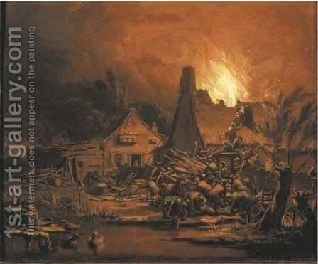 Villagers putting out a cottage fire at night by Egbert van der Poel - Reproduction Oil Painting