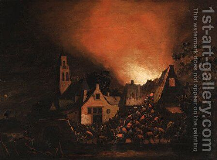 A Townhouse ablaze at Night with Peasants fighting a Fire by Egbert van der Poel - Reproduction Oil Painting