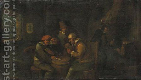 Boors, playing at cards in an inn by Egbert van, the Younger Heemskerck - Reproduction Oil Painting