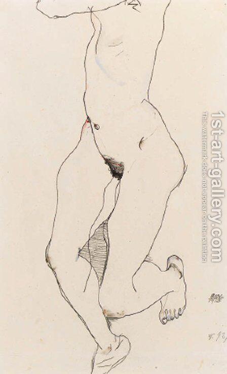Prostrate Female Nude by Egon Schiele - Reproduction Oil Painting