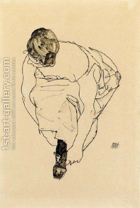 Schuhanziehende Frau (Dirne) by Egon Schiele - Reproduction Oil Painting