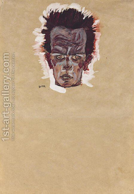Selbstbildnis, Kopf by Egon Schiele - Reproduction Oil Painting
