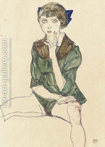 Sitzender weiblicher Halbakt in grutner Bluse by Egon Schiele - Reproduction Oil Painting