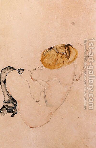 Angstlich kauerndes junges Madchen by Egon Schiele - Reproduction Oil Painting