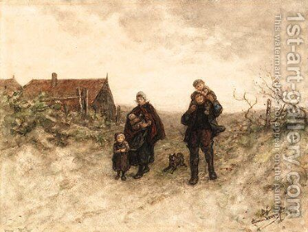 A family walk on a country path by Elchanon Verveer - Reproduction Oil Painting