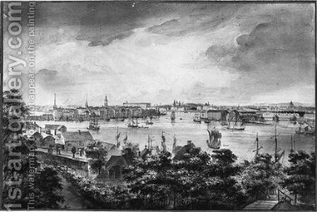 A view of Stockholm from Soder with the Royal Palace, Storkyrkan, Riddarholmskyrkan and Tyskakyrkan by Elias Martin - Reproduction Oil Painting