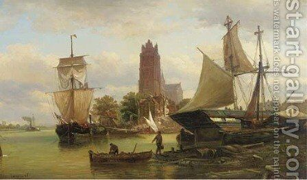 Moored sailing vessels at Dordrecht harbour by Elias Pieter van Bommel - Reproduction Oil Painting