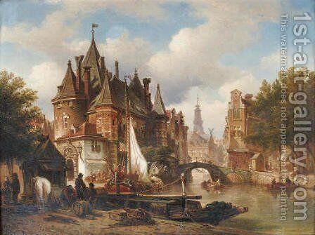 The Waag on the Nieuwmarkt with the Oude Kerk in the distance, Amsterdam by Elias Pieter van Bommel - Reproduction Oil Painting