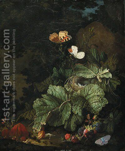 A forest floor still life with a bird's nest, toadstools, snails, blackberries, Tortoiseshell, Aurora, and Common Blue butterflies by Elias van den Broeck - Reproduction Oil Painting