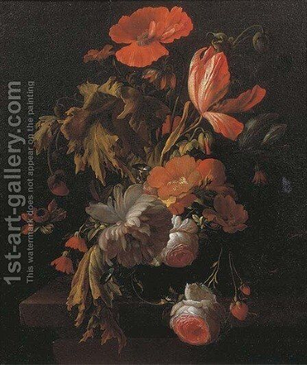 A still life with tulips, roses, poppies and other flowers in a vase on a wooden ledge by Elias van den Broeck - Reproduction Oil Painting