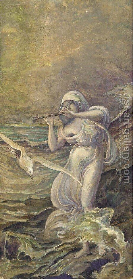 Sea Nymph by Elihu Vedder - Reproduction Oil Painting