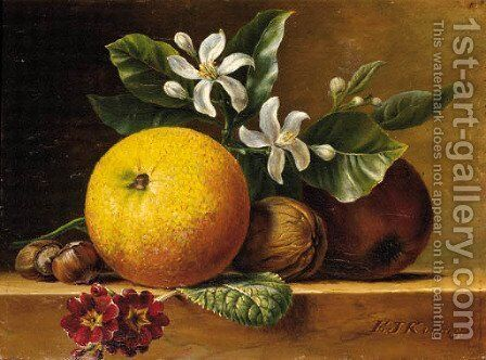 A still life with an orange by Elisabeth Johanna Koning - Reproduction Oil Painting