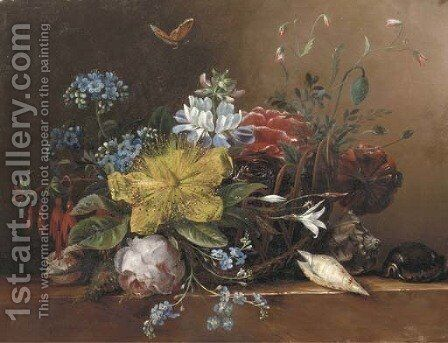 Flowers in a basket with shells on a ledge by Elisabeth Johanna Koning - Reproduction Oil Painting