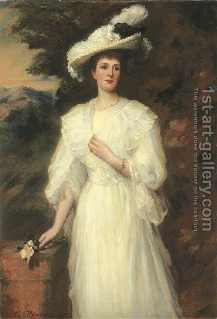 Portrait Of Edith, Lady Cunard, Three-Quarter-Length, In A White Dress by Ellis William Roberts - Reproduction Oil Painting