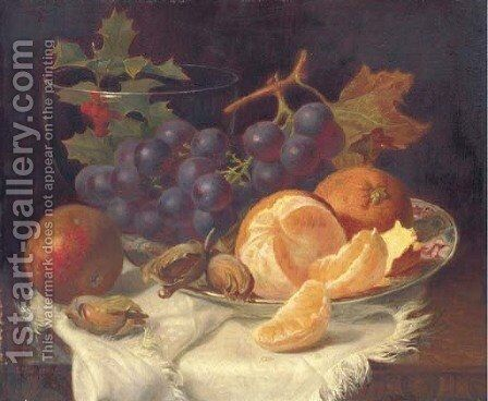 An apple, black grapes, two oranges and cob nuts on oriental plate, with holly in a glass vase, on a wooden table by Eloise Harriet Stannard - Reproduction Oil Painting