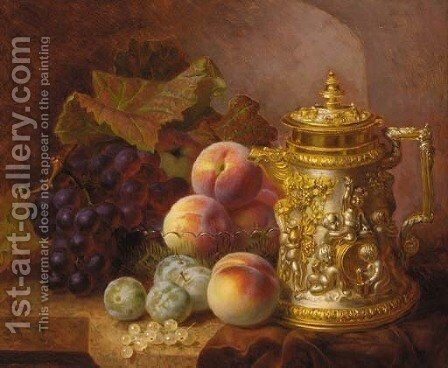 Black grapes, peaches, greengages and whitecurrants beside an ornamental gilded tankard with bacchanalian decoration by Eloise Harriet Stannard - Reproduction Oil Painting
