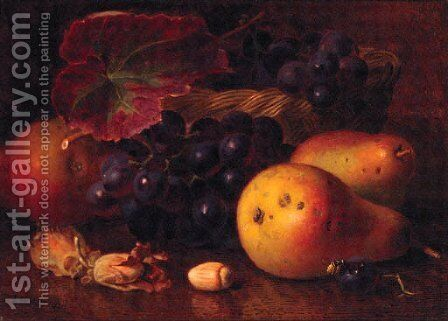 Pears, Cobnuts, Grapes in a wicker Basket, and a Wasp by Eloise Harriet Stannard - Reproduction Oil Painting