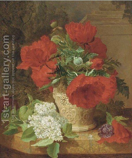 Poppies in a vase, with white lilac on a marble ledge by Eloise Harriet Stannard - Reproduction Oil Painting