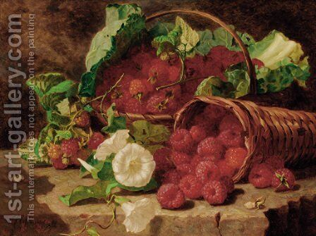 Raspberries in wicker baskets and nasturtiums on a stone ledge by Eloise Harriet Stannard - Reproduction Oil Painting