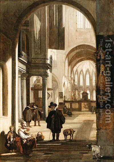 The Interior of a Gothic Church, looking down the Aisle to the Choir, with a Family begging for Alms by Emanuel de Witte - Reproduction Oil Painting