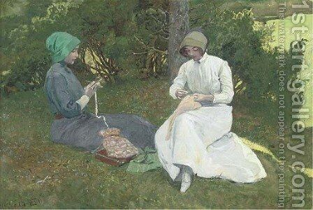 The young seamstresses by Emile Doepler Jnr - Reproduction Oil Painting